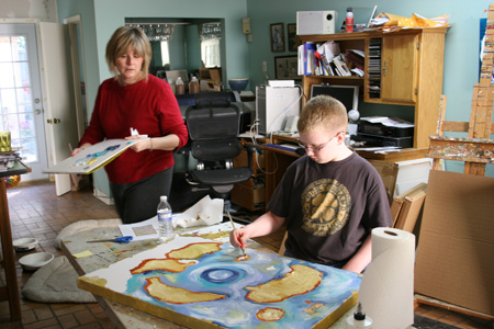 Studio time with Grandson about 10 years ago.  He was painting a map for his room. Good Things Ahead?
