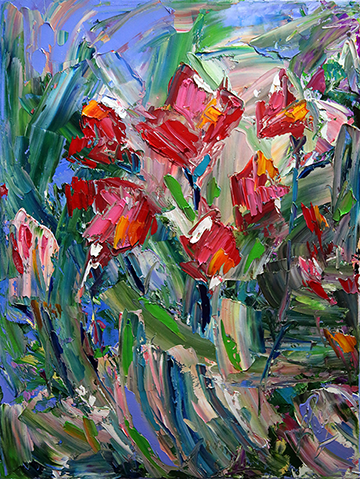 Garden Spring Red 18 x 24 Oil on Canvas © Laurie Pace 2016