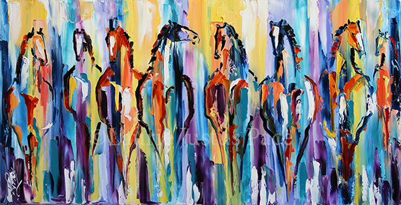 Florida Sunrise 18 x 27  SOLD  © Laurie Pace 2014 Contemporary Abstract Horse Painting