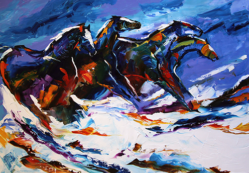 Night Snow  28 x 42 by Laurie Pace © 2013  Sold