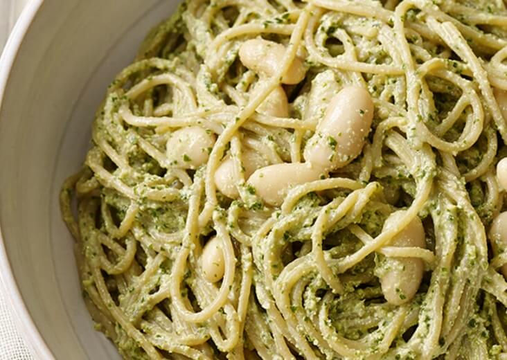 Pesto-Pasta-with-White-Beans  Forks over Knives Photo by  Tina Rupp