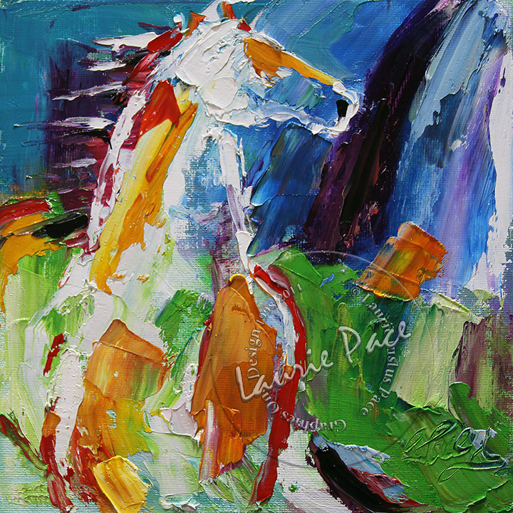 White Horse 8 x 8 Oil on Canvas © Laurie Justus Pace 1998-2018
