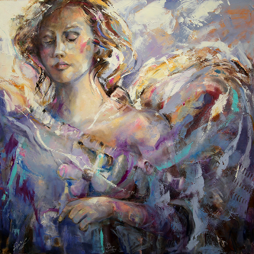 350 Web  Angel Tears 36 x 36 x 1.75 Oil on Canvas Laurie Justus Pace Pure Justus Collection.png
