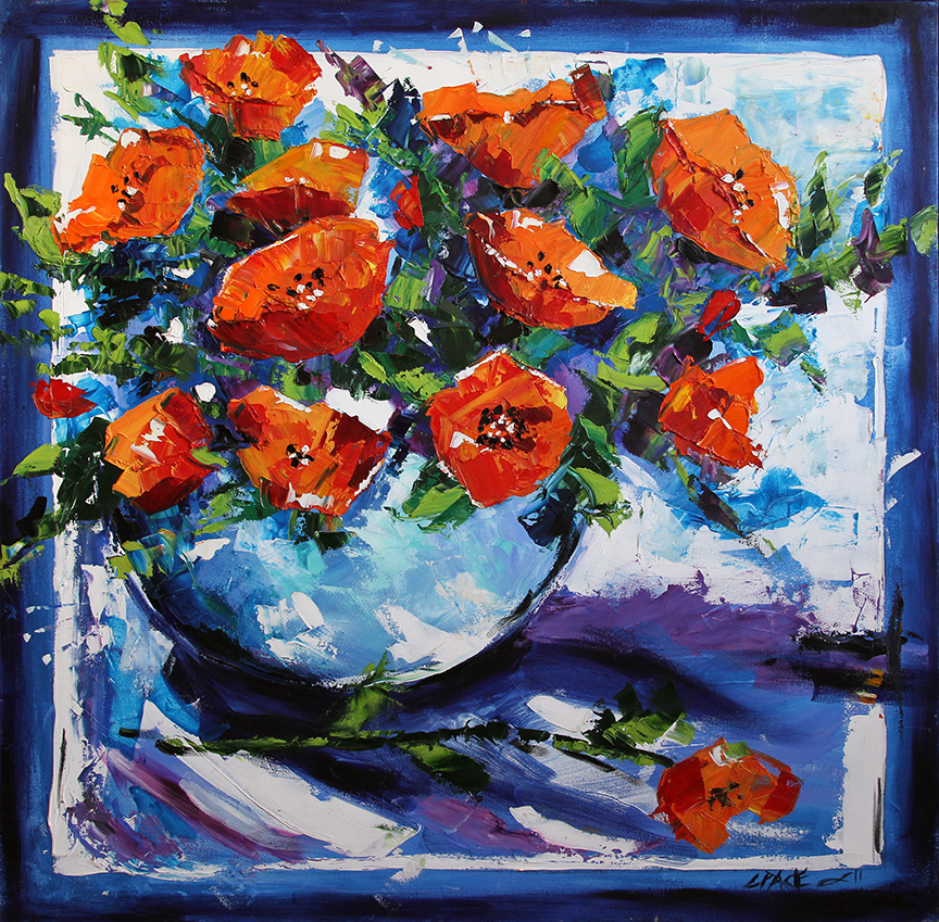 Red Poppies on Blue © by Laurie Justus Pace 2008
