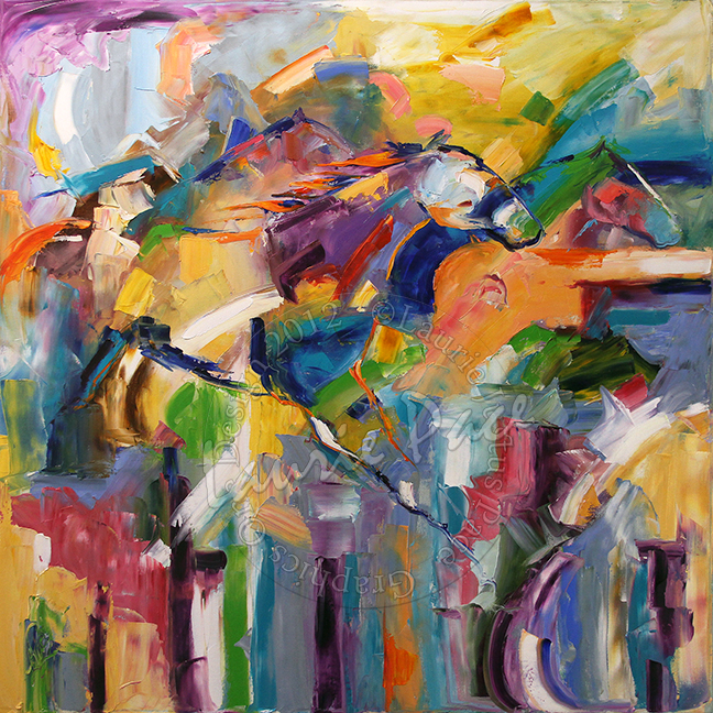 36 x 36  Gathering The Run  Oil on Canvas Sold © Laurie Justus Pace Pure Justus Collection