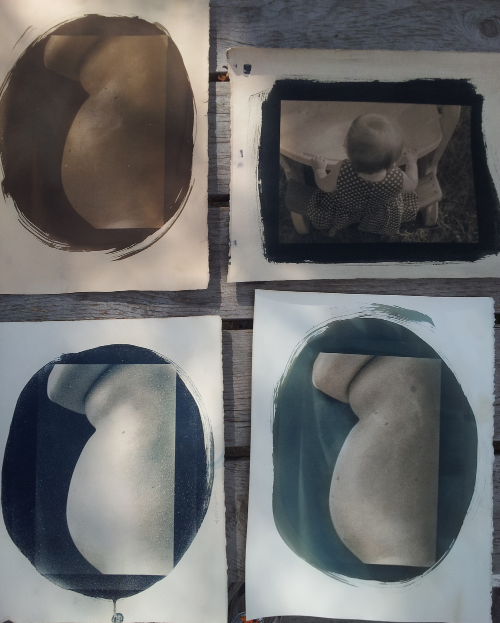 "3 versions of ""30 weeks"" and a toned print of ""Ruby at Her Table"""