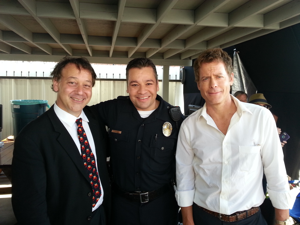 On location of RAKE w/ Sam Raimi and Greg Kinnear