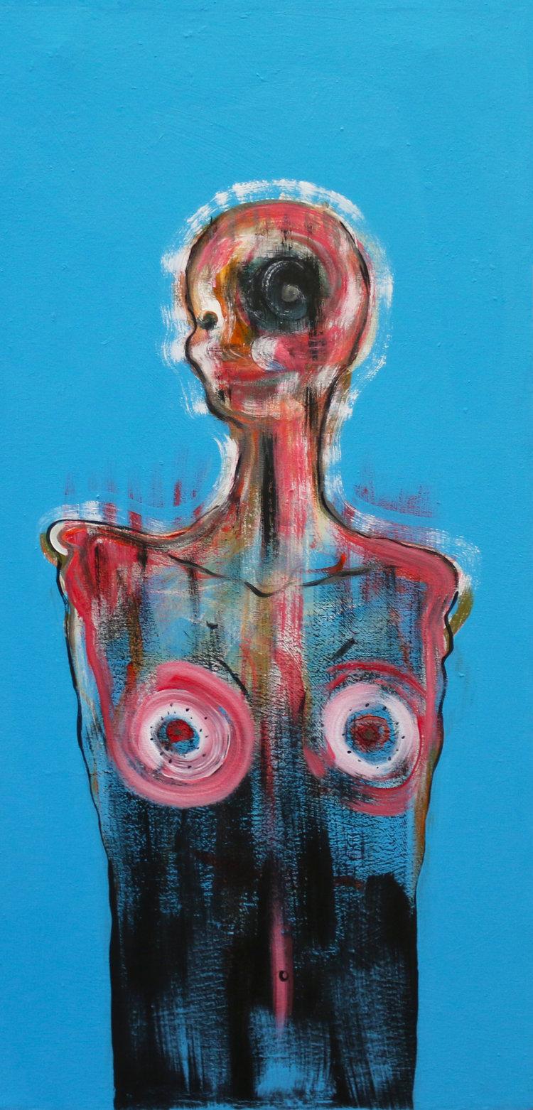 "on my behalf. Acrylic on canvas. 24"" x 36."" 2017."