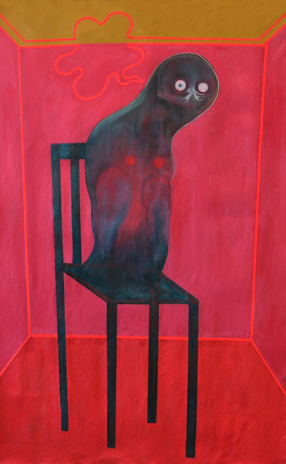 "child's pose. Acrylic on canvas. 40"" x 65."" 2019"