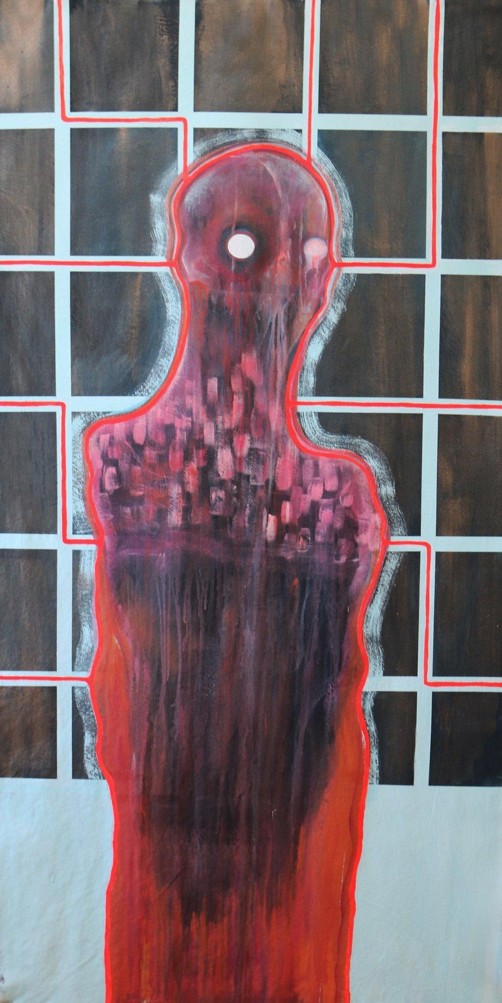 """babushka. Acrylic on canvas. 34"""" x 65."""" 2019."""