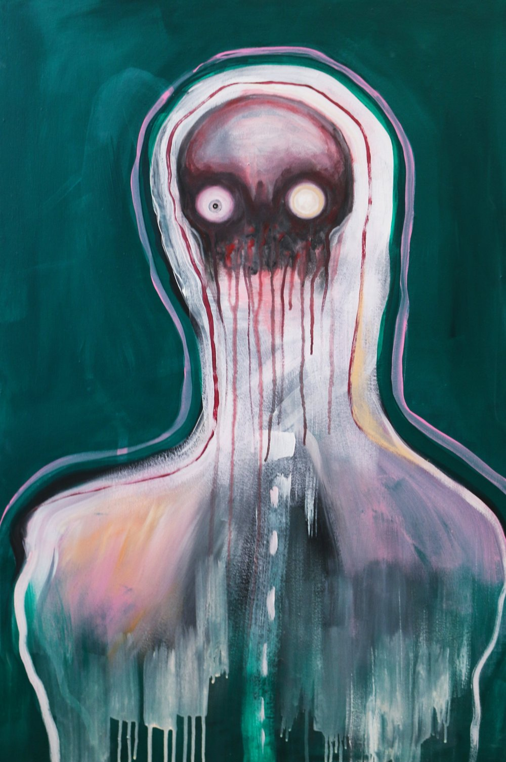 "recede. Acrylic on canvas. 24""x36."" 2019"