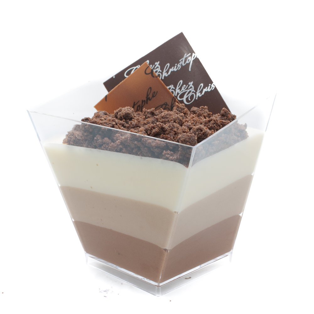 Trio de Chocolat - Dark, milk and white chocolate mousse with a chocolate crumbleNut FreeGluten FreeAlcohol Free$5.90