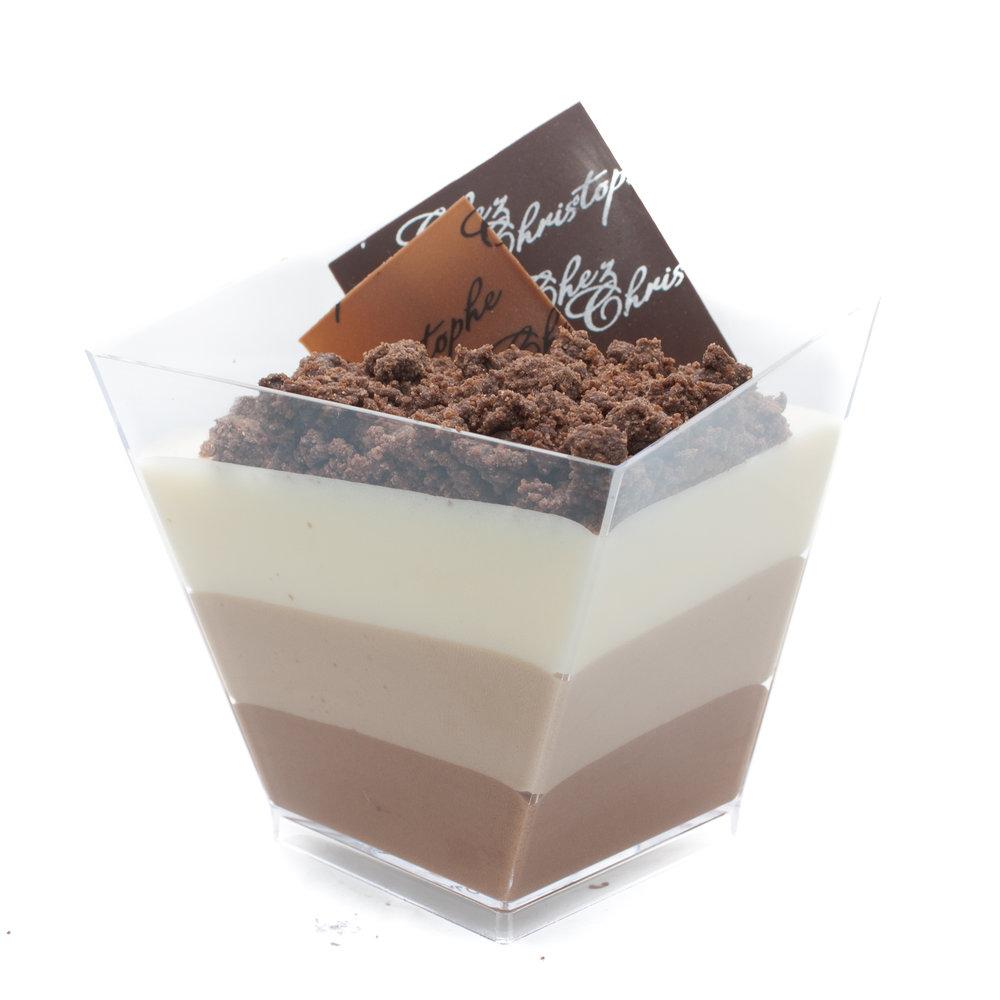 Trio de Chocolat - Dark, milk and white chocolate mousse with a chocolate crumbleNut FreeGluten FreeAlcohol Free$6.20
