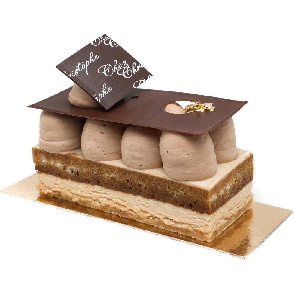 Christophe's Tiramisu - Mascarpone mousse with coffee infused whipped ganache on an almond sponge soaked in espresso$6.20