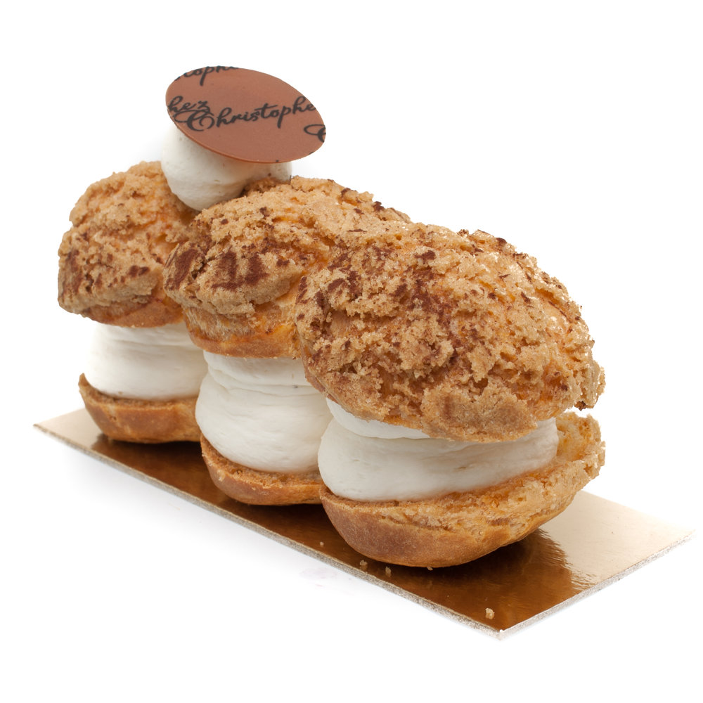 Tonka eclair  - Tonka bean white chocolate ganache and salted caramel in a choux pastry $5.90Individual size only