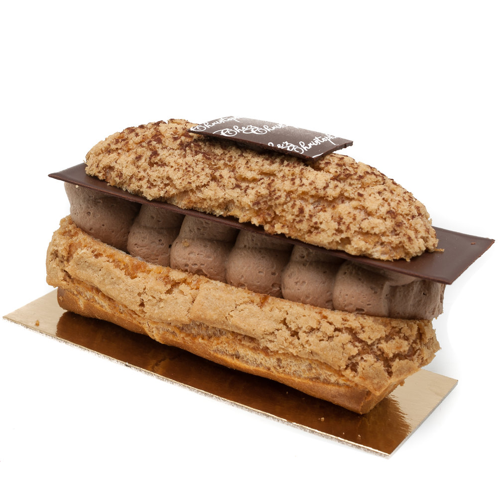 Eclair au Chocolat - Milk chocolate cream paired with decadent dark chocolate mousse in choux pastryNut FreeAlcohol Free$6.20Individual size only