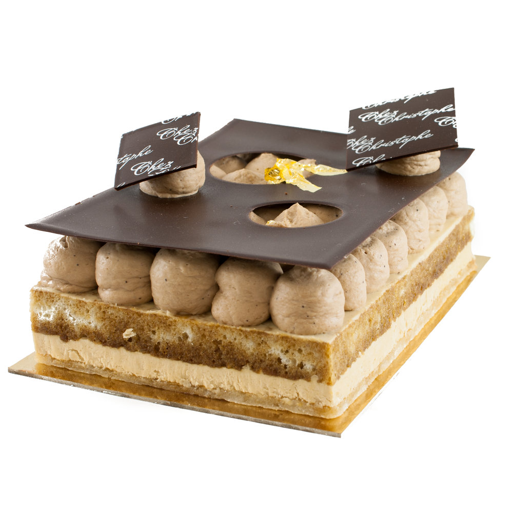 Christophe's Tiramisu  - Mascarpone mousse with coffee infused whipped ganache on a sponge soaked in espressoAvailable in:4-5 servings $24.956-7 servings $29.9510, 20 & 30 servings @$4.25 per serving
