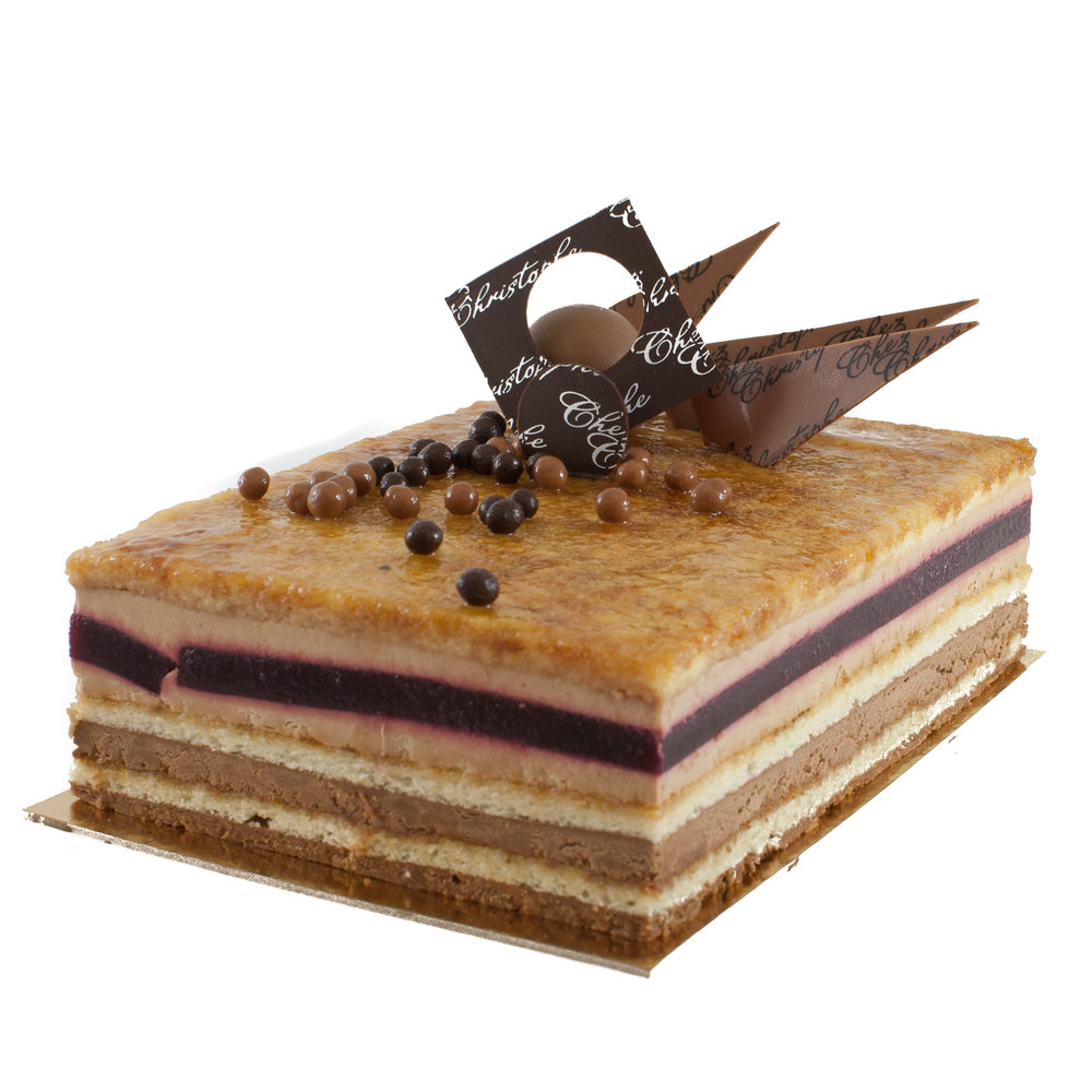 Gianduja Cerise - Hazelnut chocolate mousse with a heart of cherry confit on a hazelnut crunch baseAvailable in:4-5 servings $24.956-7 servings $31.4510 serving $44.9520 servings $89.9030 serving $134.70