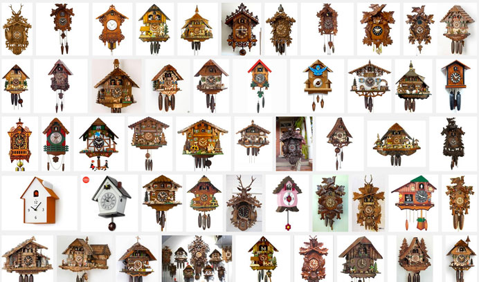 I found hundred's of cuckoo clocks on Google