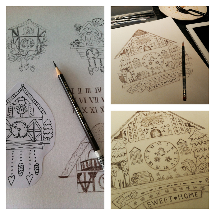 My sketches of cuckoo clock