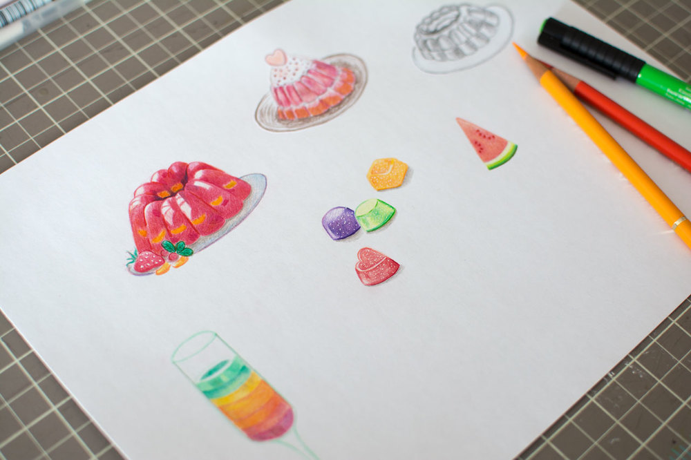 mini icons with colored pencil and marker