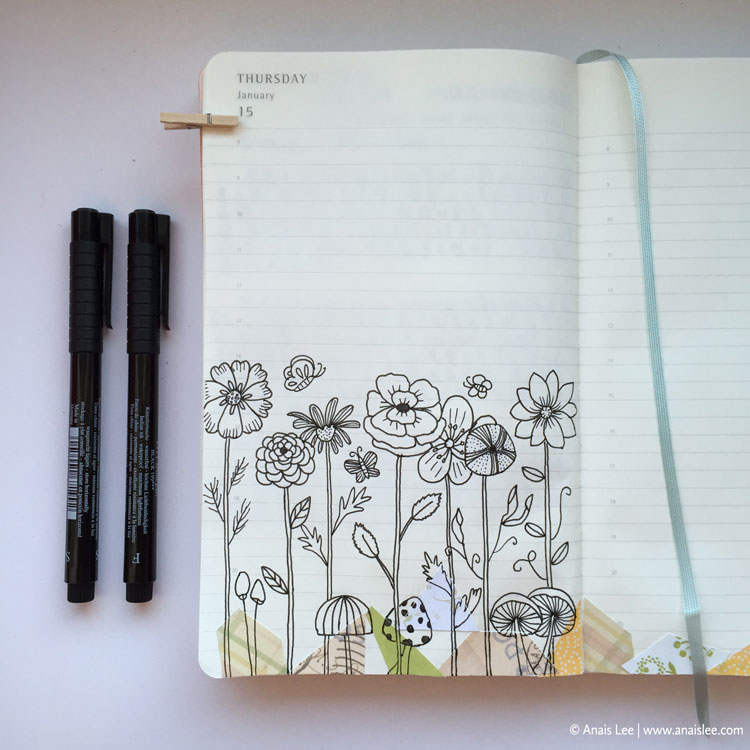 PITT artist pen and patterned paper on Moleskine Daily Planner