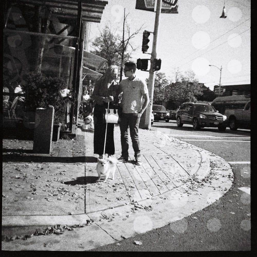 Kits couple with dog West 4th Ave., Vancouver Diana F, 120 lomo film 3.15