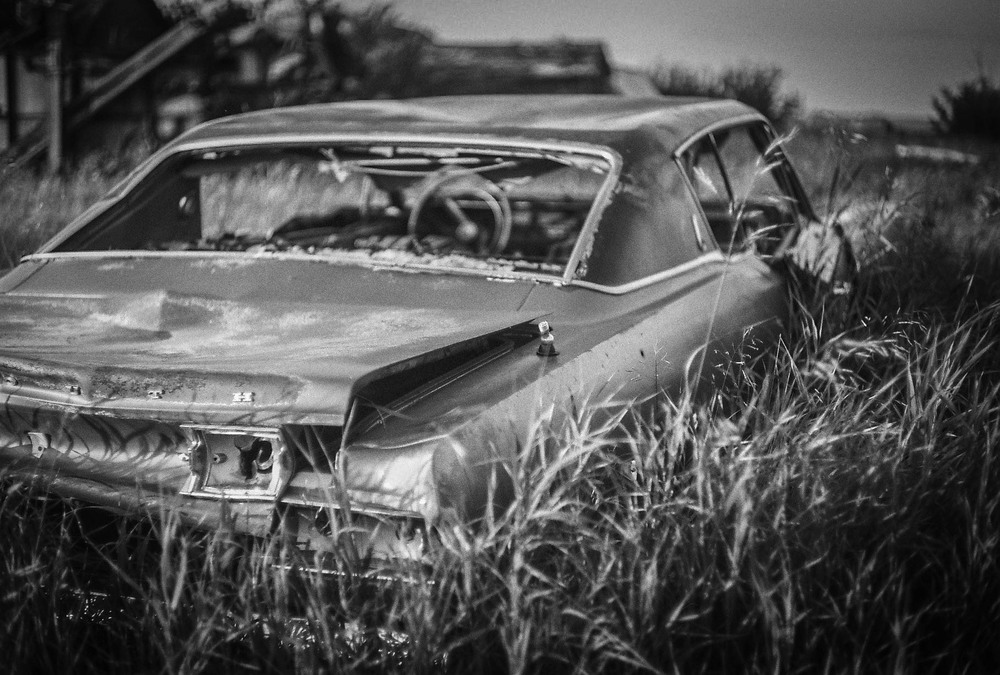 Plymouth Fury Bulwark, Alberta Leica M3, Canon 50mm F1.4 Ilford Pan F Plus 50 film 7.16