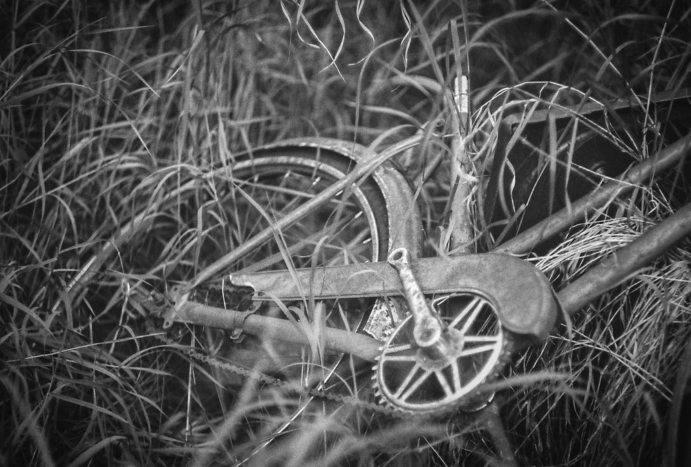 Bicycle in grass Bulwark, Alberta Leica M3, Canon 50mm F1.4 Ilford Pan F Plus 50 film 7/16