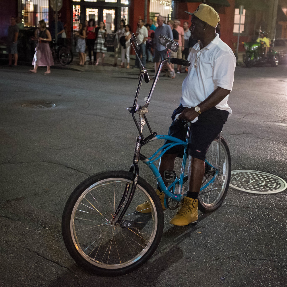 Man on bicycle New Orleans, LA Fuji X100T 6.16