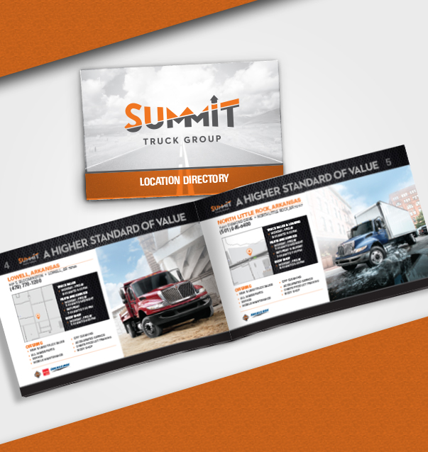 Last Project At Bennett Davis Group - Problem: Summit Truck Group is growing rapidly and needed a directory to place in every semi truck they sell. The challenge was to make a book that looked appealing, advertised the individual locations and was easily update-able on short notice. The other challenge is that each location has a wide variation of information.Solution: In order to have an update-able booklet it had to be able to be booklet bound either with staples and traditional book binding. The template was set so that each location could be updated quickly by importing an excel file. The content would scale easily regardless of the amount of information on the location due to the large photo on each page which could flex in width without being noticed.