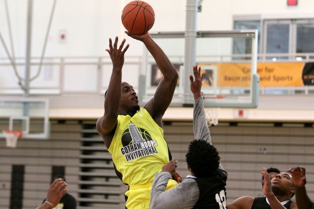 Olasewere shoots at 2nd Annual Gotham Hoops Invitational | Photo Courtesy of Bob Dea