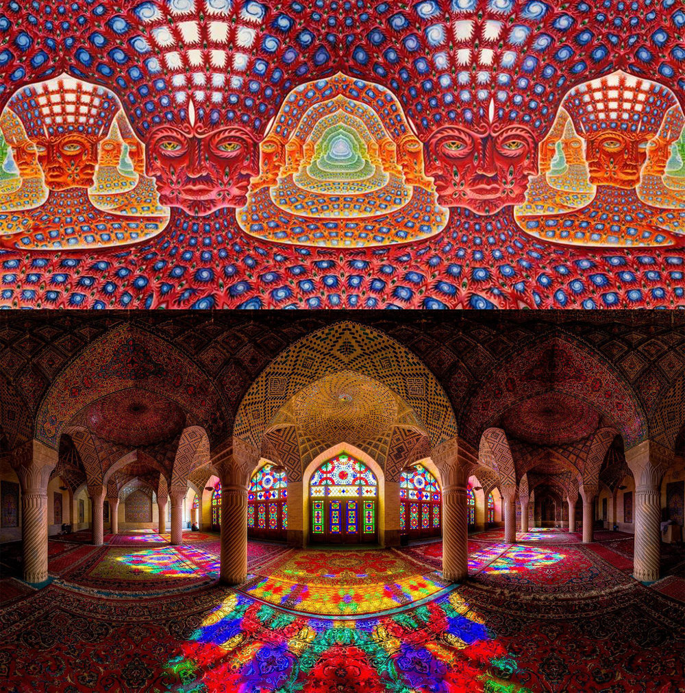 Artist Alex Grey above and a Mosque below.