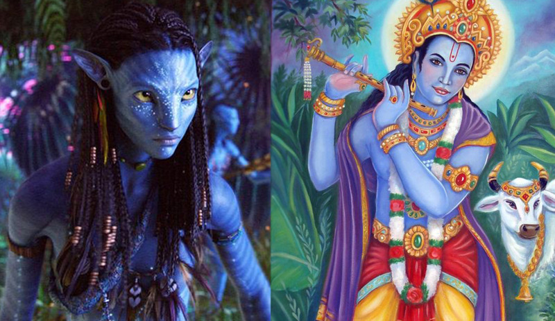 Avatars - For those of you who have seen James Cameron's film Avatar you might have noticed that the indigenous of Pandora had a blue skin very much like the gods of Hinduism when they walked among humans in human form (in their avatars)...