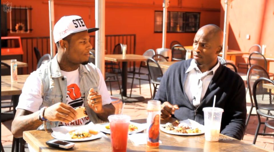 NFL Network Fan Pass  Lets do lunch: Stevie Johnson meets with Akbar Gbajabiamila at Guisados Echo Park for some tacos and post-workout chatter.
