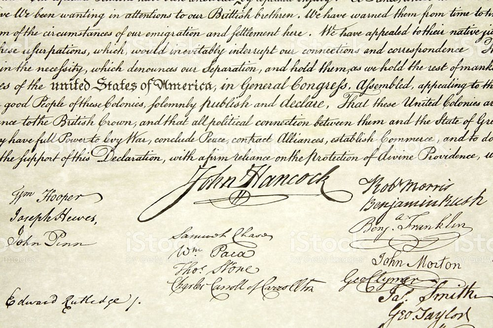 US Declaration of Independence Document and John Hancock