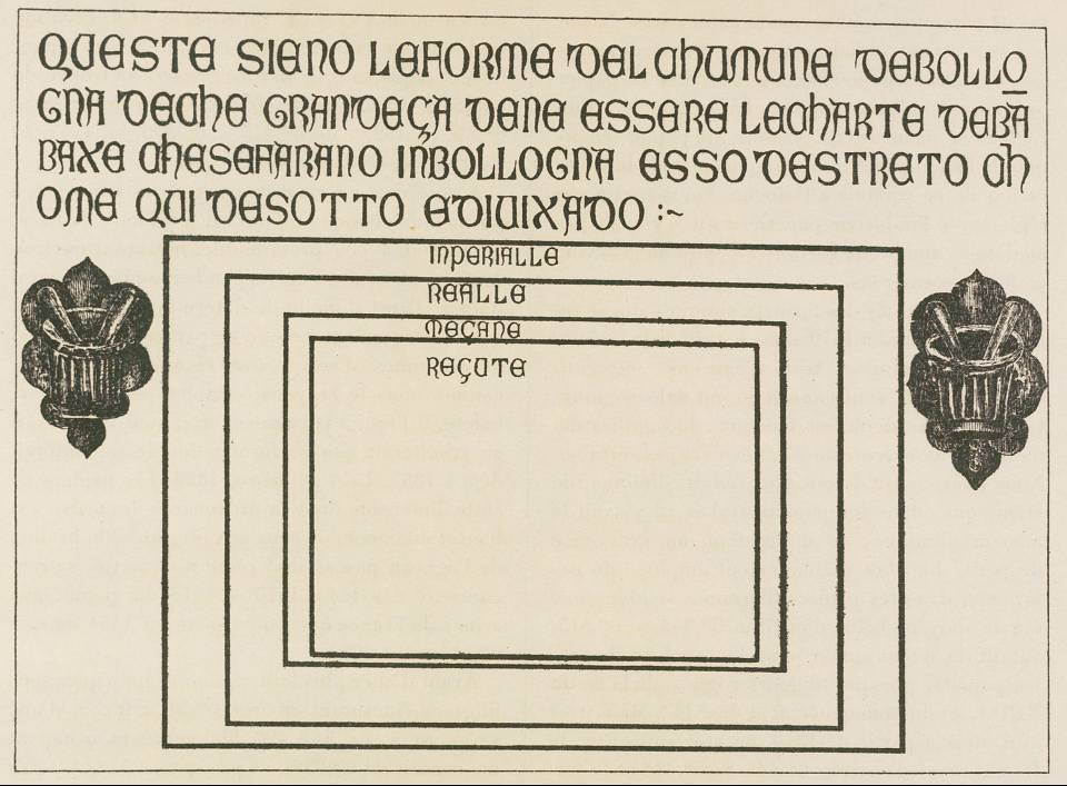 The Bologna stone, showing the four standard paper sizes, circa 1389. Overall dimensions of the stone: 75 x 103 x 3.5 cm. The sizes of the rectangles that indicate paper-sheets, as given by the Museo Civico Medievale, Bologna: 50.5 x 73.5 cm; 44.5 x 61 cm; 34.5 x 50 cm; 31.5 x 44.5 cm. (Museo Civico Medievale, Bologna.)   Faculty.goucher.edu. (2017).  Hand-Press Book Paper Sizes . [online] Available at: http://faculty.goucher.edu/eng241/handpress_book_paper_sizes.htm [Accessed 3 Nov. 2017].