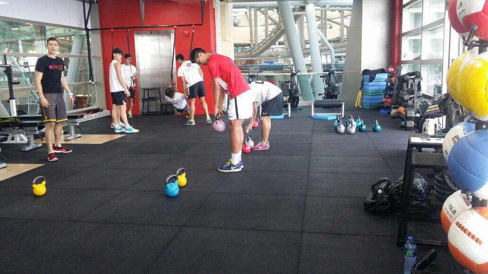 Students athletes working on drills designed by Strive Fitness's trainers.