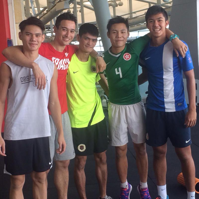 Director of Strive Fitness provided training for Affinity's student athletes. Picture from left to right Philip Wong, William Lo, Fung Hok Lam, Fung Kwun Ming and Remi Dujardin