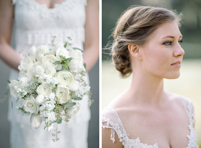 Katie's bridal portrait and bouquet that I made at about 6 am in a cottage on Edisto Island. We transported it to Charleston in a huge Gatorade cooler with ice packs around it!