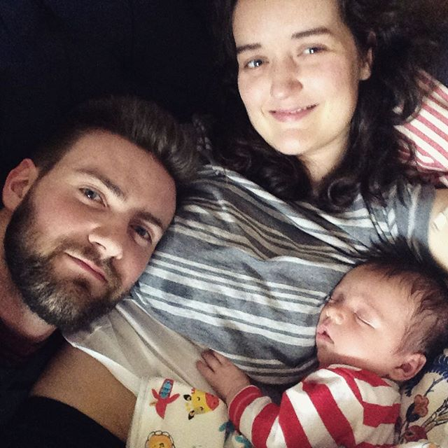 Blurry family selfie – that front facing camera is the pits but I love this photo.  This week has been really crappy and Tadhg and I ended up back in hospital overnight with mastitis (the worst!) but I think that I can say – very tentatively – that we're turning a corner. It only gets easier, right?! #tadhgthetiger 🐯❤️