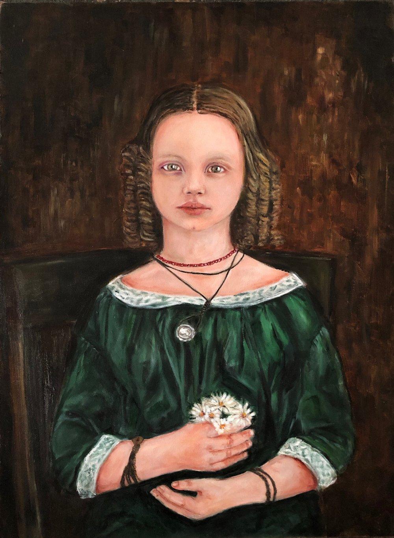 Daguerreotype Portrait: Girl in Green Dress