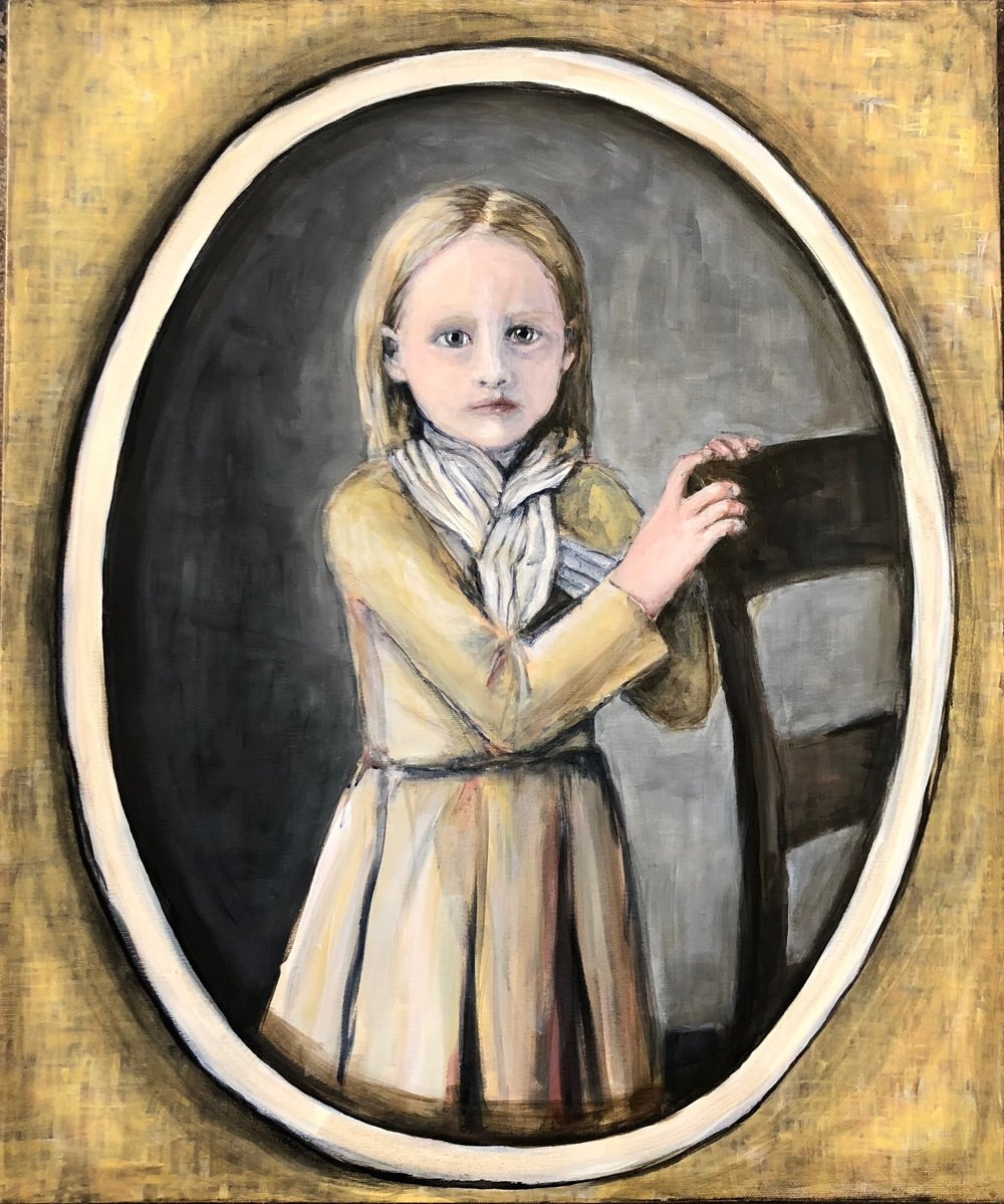 Daguerreotype Portrait: Girl Holding Chair