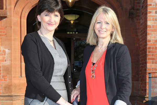 Paula Leathem, Senior HR Business Partner at NIE and ate Marshall, Chair of Women in Business, meet to discuss the new partnership between NIE and Women in Business.