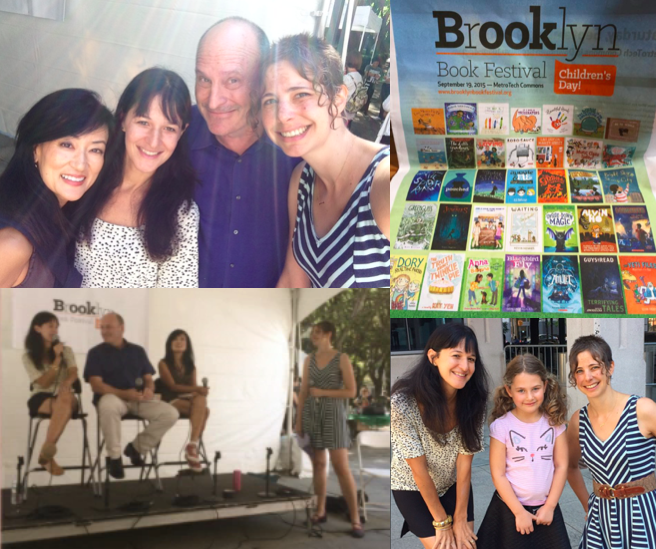 Moderating the What a Character! panel with authors Lenore Look ( Alvin Ho ), Abby Hanlon ( Dory   Fantasmagory ), and Jon Scieszka ( Frank Einstein ) at the Brooklyn Book Festival in Brooklyn, NY (September)
