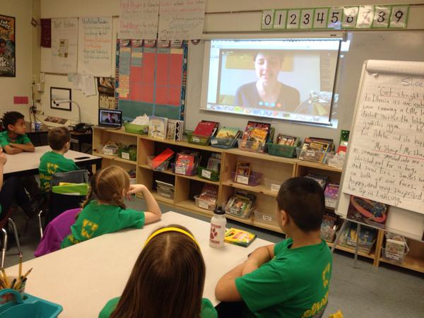 A Skype visit with 3rd graders in Michigan. Photo by  Colby Sharp .