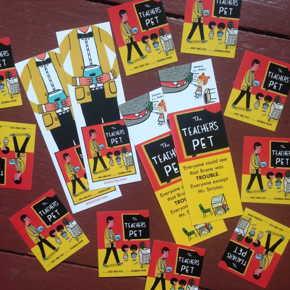 The Teacher's Pet bookmarks and stickers for event attendees