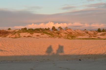 Sunset shadows on La Cachora Beach