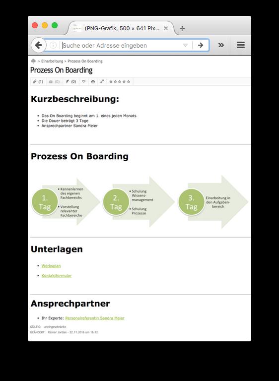 Beispiel 2: Mit SABIO erstellte Wissensquelle für einen Onboarding-Prozess