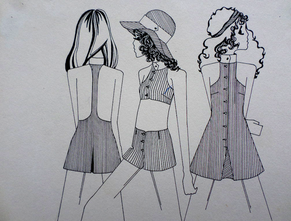 Original Biba Style Fashion Illustration 1